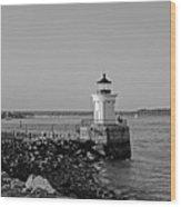 Portland Maine Bug Light Park Black And Whtie Wood Print