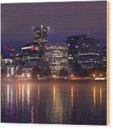 Portland Night Skyline Wood Print