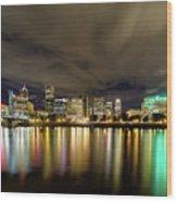 Portland Nightscape Wood Print