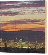 Portland Oregon City Skyline Sunset Panorama Wood Print