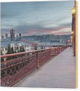 Portland Oregon Downtown On Broadway Bridge Wood Print