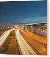 Portland Oregon Interstate Freeway Light Trails Wood Print