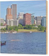 Portland Oregon Skyline And Rowing Boats. Wood Print