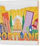 Portland Oregon Skyline In State Map Wood Print
