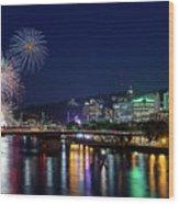 Portland Rose Festival 2017 Fireworks Wood Print
