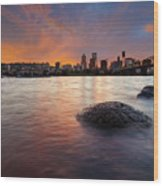 Portland Skyline Along Willamette River At Sunset Wood Print