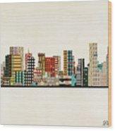 Portland Skyline Wood Print