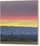 Portland Skyline From Altamont Park At Sunset Wood Print