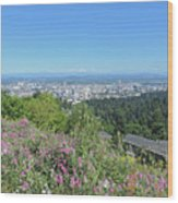 Portland Skyline With Mount Hood Wood Print