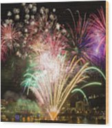 Portland Waterfront 4th Of July Fireworks Wood Print