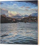 Porto And Vila Nova De Gaia River View Wood Print