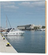 Porto Carras Harbor With Yacht And Resort Wood Print