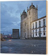 Porto Cathedral And Pillory Column In Portugal Wood Print
