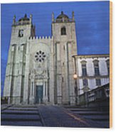 Porto Cathedral By Night In Portugal Wood Print