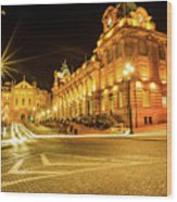 Porto City By Night Wood Print