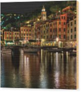 Portofino Bay By Night II - Notte Sulla Baia Di Portofino II Wood Print