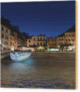 Portofino Bay By Night IIi- Piazzetta Di Portofino By Night Wood Print