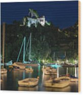 Portofino Bay By Night Iv - Castello Brown Castle Wood Print
