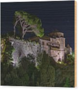 Portofino Bay By Night V - Notte Al Castello Wood Print