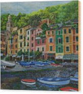 Portofino Harbor Wood Print