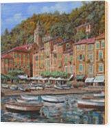 Portofino-la Piazzetta E Le Barche Wood Print