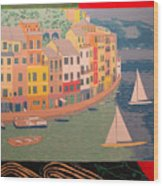 Portofino with birds Wood Print