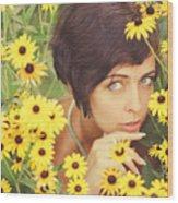 Portrait In Flowers Wood Print