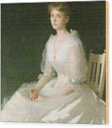 Portrait In White Wood Print