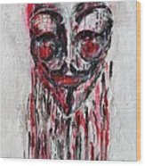 Portrait Melting Of Anonymous Mask Chan Wikileak Occupy Guy Fawkes Sopa Mpaa Pirate Lulz Reddit Wood Print