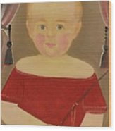 Portrait Of A Blonde Boy With Red Dress With Whip Wood Print