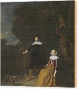 Portrait Of A Couple In A Landscape Wood Print