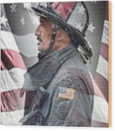 Portrait Of A Fire Fighter Wood Print
