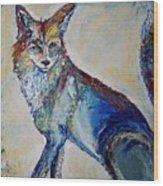 Portrait Of A Fox Wood Print