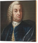 Portrait Of A Gentleman Half Length Wearing A Wig And A Blue Velvet Cape Wood Print