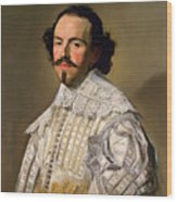 Portrait Of A Gentleman In White Wood Print