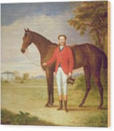 Portrait Of A Gentleman With His Horse Wood Print