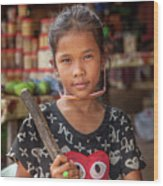 Portrait Of A Khmer Girl - Cambodia Wood Print