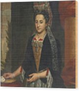 Portrait Of A Lady Half Length In A Mantua Gown And Lace Frelange Headdress Wood Print