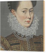 Portrait Of A Lady Head And Shoulders In A Lace Ruff Wood Print