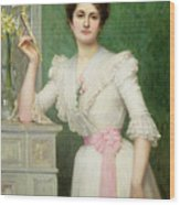 Portrait Of A Lady Holding A Fan Wood Print