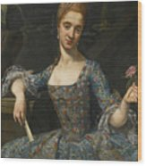Portrait Of A Lady In An Elaborately Embroidered Blue Dress Wood Print