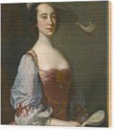 Portrait Of A Lady In Van Dyck Dress Wood Print