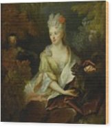 Portrait Of A Lady Seated In A Landscape With Her Pet Dog And A Monkey Wood Print