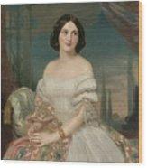 Portrait Of A Lady Sitting Under A Pergola Wood Print