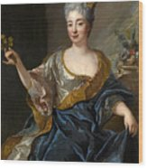 Portrait Of A Lady Three-quarter-length Holding Flowers Wood Print