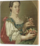 Portrait Of A Lady With A Flower Basket Wood Print