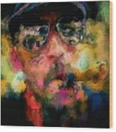Portrait Of A Man In Sunglass Smoking A Cigar In The Sunshine Wearing A Hat And Riding A Motorcycle In Pink Green Yellow Black Blue Oil Paint With Raking Light To Pick Up Paint Texture Wood Print