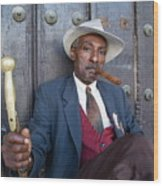 Portrait Of A Man Wearing A 1930s-style Suit And Smoking A Cigar In Havana Wood Print
