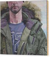 Portrait Of A Mountain Walker. Wood Print