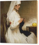 Portrait Of A Nurse From The Red Cross Wood Print
